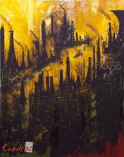 Cuadro Decorativo Industrial / Ciudad-pintura -envío Rápido