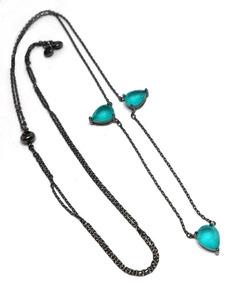 Wxz-colar Gravatinha Cristal Tom Turmalina Paraiba Leitosa