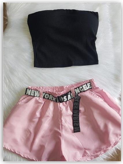 Shorts Tactel Com Cinto Estilo Tumbr