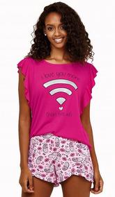 be76c9828 Pijama Short Doll Feminino Estampado Luna Cuore 5843