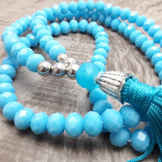 Colar Japamala Ho´oponopono Cristais (azul)