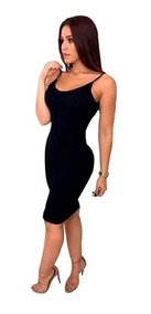 Vestido Midi Canelado Alça Fina Moda Tendencia Feminina