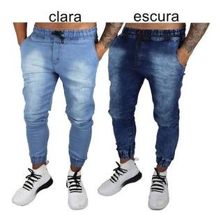 Kit 9 Calças Jeans Camuflada Masculina Jogger C/ Punho Lycr