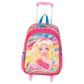 Mochila C/rodinhas Escolar Infantil Barbie Rosa Sestini