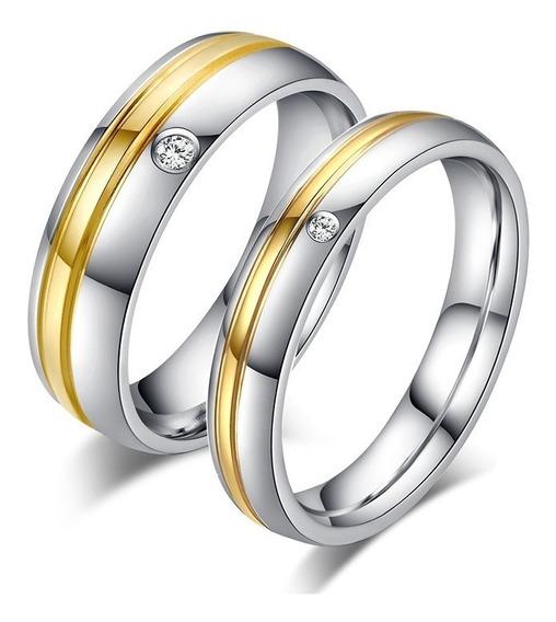 Alianças Anéis Compromisso Banhado A Ouro 18k