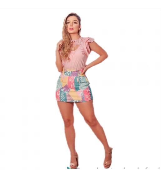 Conjunto Feminino Alfaiataria Short Saia +blusa Luxo Cafss1