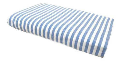 Lençol Com Elástico Solteiro Listras Azul-harmonia 88x188 Cm