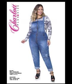 0c47cfd04 Macacao Jardineira Jeans Plus Size Charlott