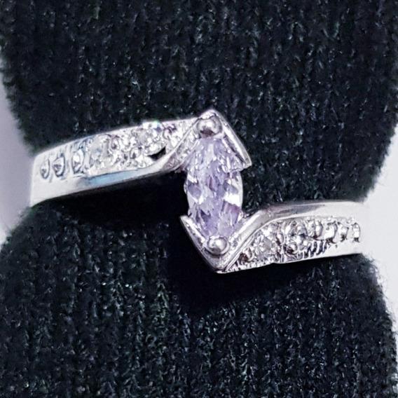 Anillo De Compromiso Zafiro Plata 925 Tipo Diamante M18