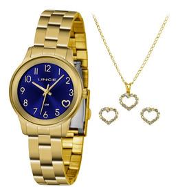 Kit Relogio Feminino Lince Dourado Fundo Azul Com Detalhe