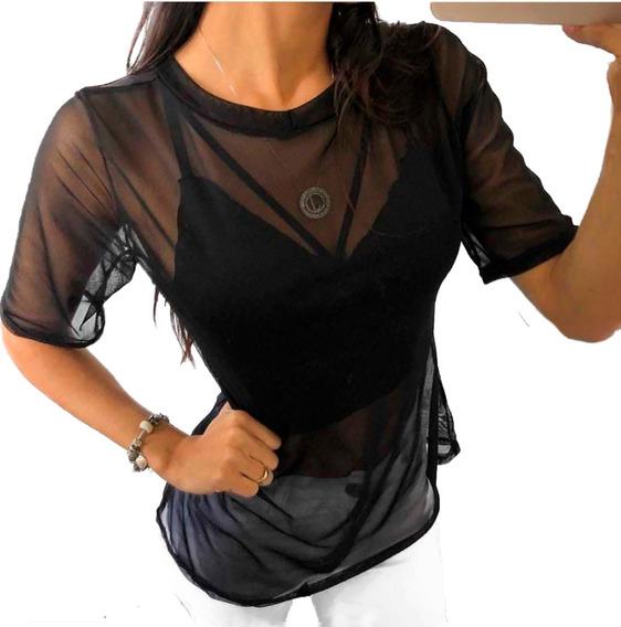 Blusa Feminina Camiseta T-shirt Tule Transparente Manguinha