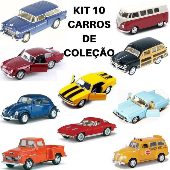 Combo 10 Carro De Coleção Clássicos Antigo Kinsmart Fricção
