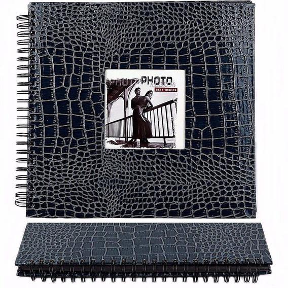 Álbum De Assinaturas E Scrapbook Grande Capa Azul Verniz