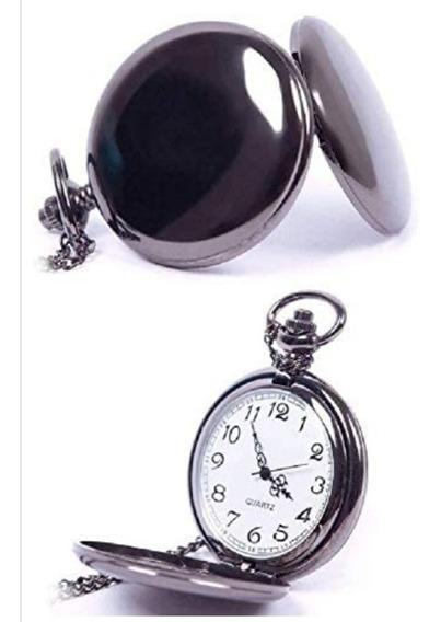 Reloj De Bolsillo Clásico De Esfera Blanca De Acero