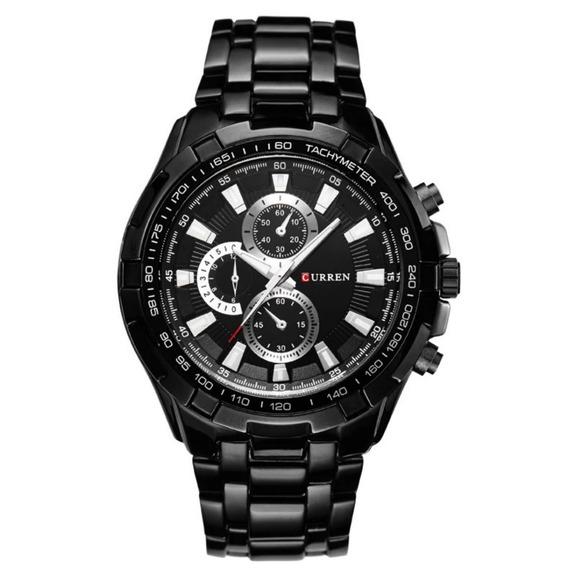 Relógio Masculino Preto Aço Inox Fundo Prata