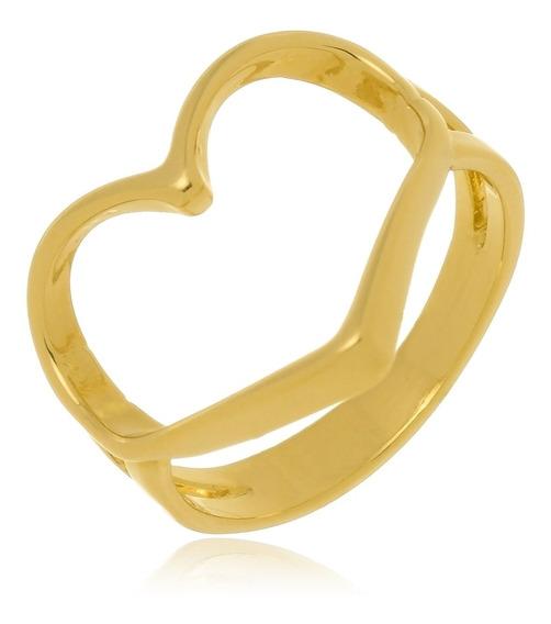 Anel Amor Formato Coração Vazado Banhado A Ouro