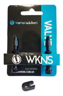 Par De Válvulas Tubeless Wkns - Aluminio Negro - Desmontable