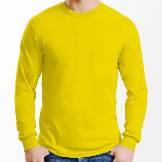 Kit 10 Camisetas Manga Longa Básica Camisa Blusa Lisa Camisa