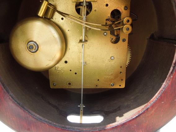 Reloj Alemán De Mesa Tipo Portico Madera Mecanico