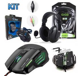 Kit Gamer Fone Ouvido Headset Microfone + Mouse 7 Botões Pc