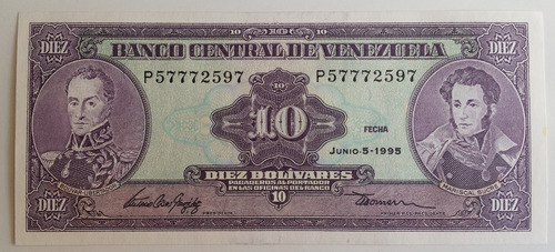 Billete Venezuela 10 Bs Junio 5 1995 P8 Unc
