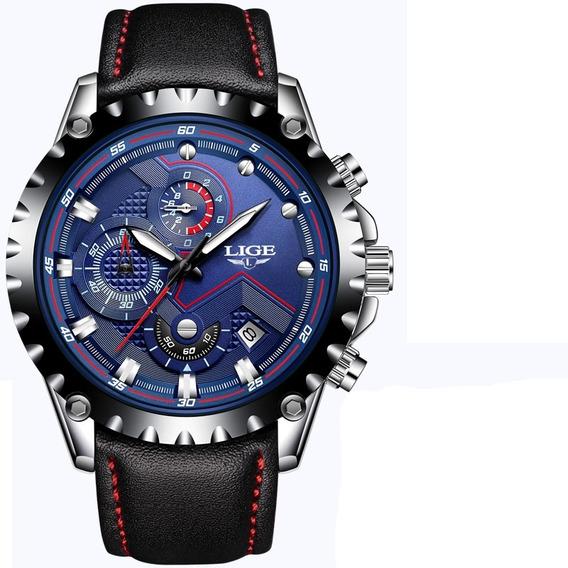 Relógio Lige Masculino Original Lg9821 Azul Todo Funcional