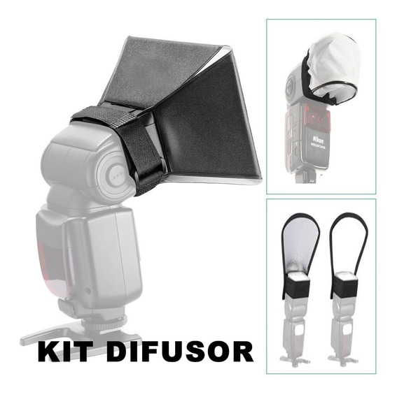 Kit 3 Difusor Rebatedor Universal Para Flash
