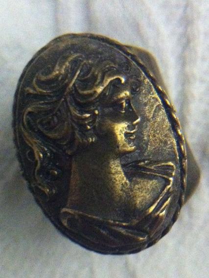 Camafeu Anel Bronze, Aro Regulável,