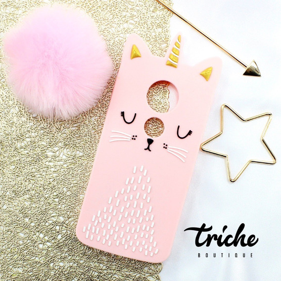 Funda Botarga Gato Unicornio Rosa Moto G6 Play / E5 Normal