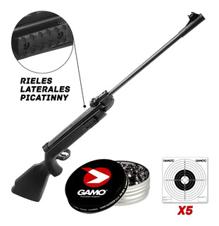 Rifle Aire Comprimido 5.5 Balín X250 Blancos Rieles Lateral