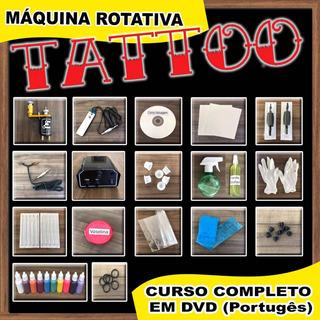 Kit Tattoo Completo Máquina Rotativa Tatuagem Dvd Curso