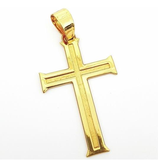 Pingente Cruz Crucifixo Grande Banhado A Ouro 18k