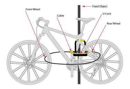 Tranca Moto U 14mm 11x23cm+linga Acero 10mmx1.20mt Onguard
