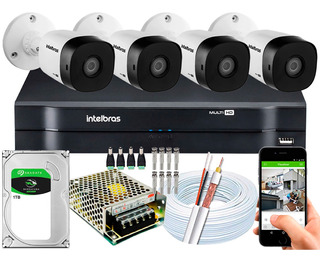 Kit Cftv 4 Cameras 1220b G4 1080p 2mp Intelbras Dvr 8 Canais