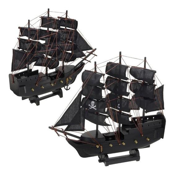 Navio Fragata Barco Pirata Velas Negras Decorativo 32cm