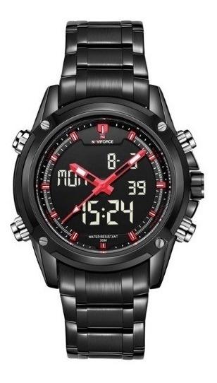 Relógio Masculino Naviforce Aço Inoxidável Led 9050