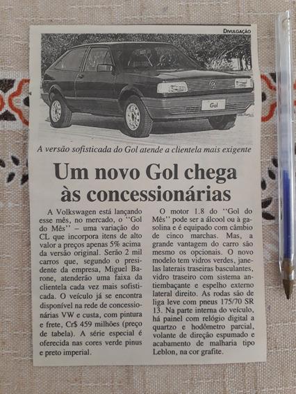 Recorte Jornal Matéria Reportagem Vw Gol 1.8 Quadrado
