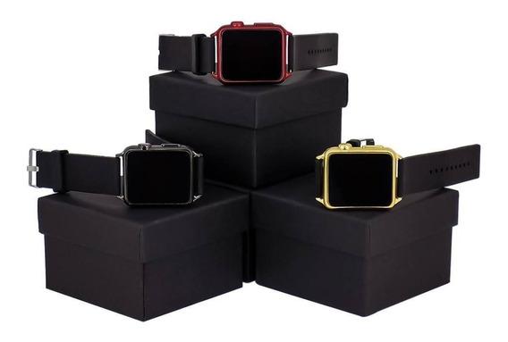 Kit 3 Relógios Led Pulseira De Silicone Feminino Quadrado