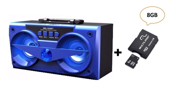 Combo Caixa De Som Bluetooth Azul 10w Ms-180bt + Cartão 8gb