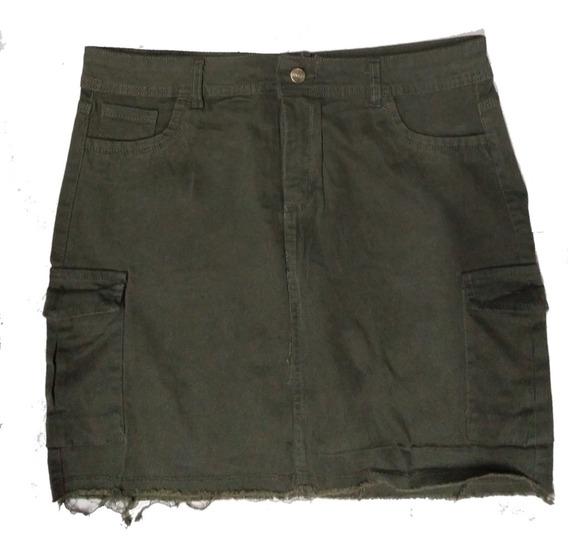 Pollera De Jean Cargo Negro Verde Elastizada Talle 46 Al 60