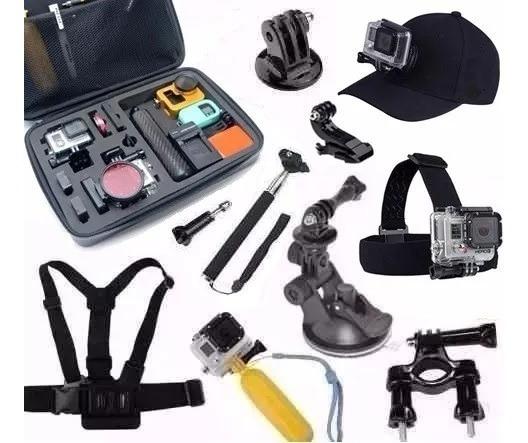Kit P Gopro Action Cam Hd Camera Ação Mala Impermeável Boné