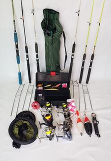Kit Pesca 6 Varas Com Molinete+caixa De Tralha+acessórios