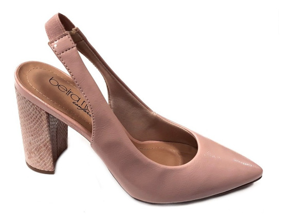 Zapato Mujer Beira Rio Stilleto Punta Talon Abierto Taco 9cm