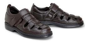 Sandalia Confort Masculina Em Couro Riber Shoes Com Tiras