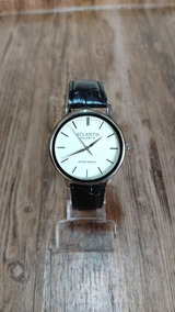 Relógio Atlantis Masculino Prata Analógico Couro Original