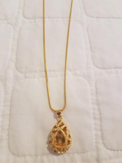 Colar Gargantilha Dourado Com Pingente Oval Gota Em Mandala