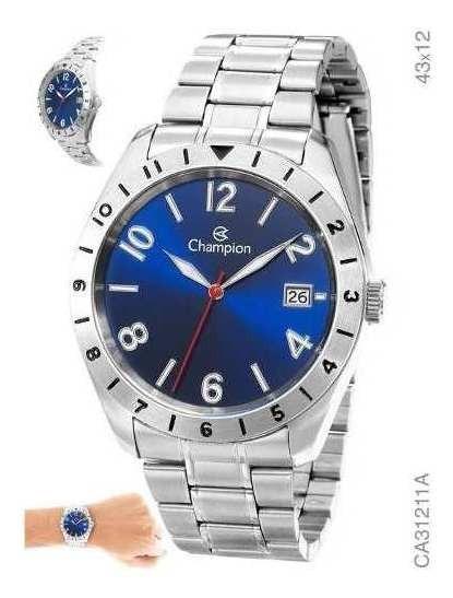 Relógio Masculino Champion Prata Ca31211a Azul