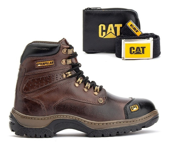 Bota Caterpillar Original Couro Legítimo Cat+kit Brindes