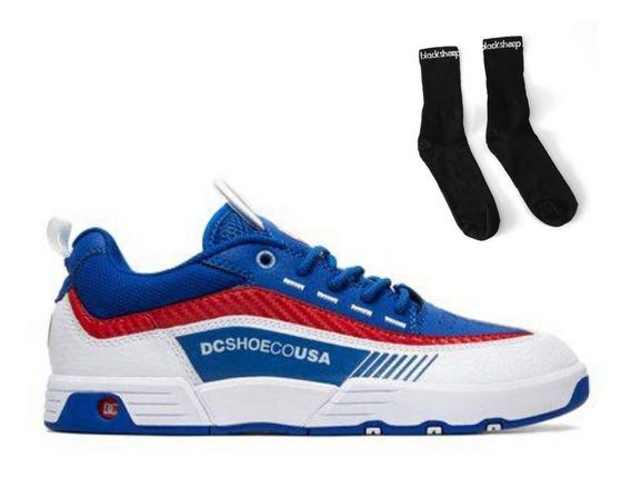Tênis Masculino Dc Legacy 98 Slim Blue Red + Meia Brinde