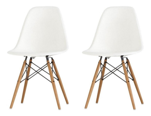 Silla Eames Dsw Base Madera Pack Combo 2 Unidades Premium